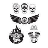 Biker skulls set Stock Photo