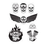 Biker skulls set. Set of skulls on the bikers theme Stock Photo