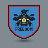 Biker stamp or label with the text Freedom inside Royalty Free Stock Photos