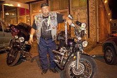 A biker stood next to his bike, Mississippi. A biker stood next to his motorbike, Clarkesdale, Mississippi Stock Photography