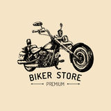 Biker store advertising poster. Vector hand drawn chopper for MC sign, label. Vintage detailed motorcycle illustration. Royalty Free Stock Photos