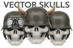Biker symbols of skulls with helmet and horns Stock Photography