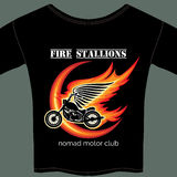 Biker t shirt template. Biker t shirt vector template with motorcycle in flame Royalty Free Stock Images