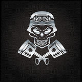 biker theme design template with pistons and skull in hel Royalty Free Stock Photos