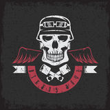 Biker theme grunge label with pistons Royalty Free Stock Photos