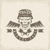 Biker theme grunge label with pistons ,wings Royalty Free Stock Photos