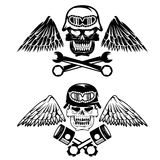 Biker theme label with pistons ,wrenches Royalty Free Stock Photography