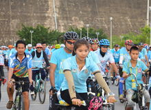 Biker together in Bike for mom event of bicycle to show respect and loving for her majes Stock Images