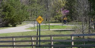 A Biker on a trail in the Wolf River Greenway Royalty Free Stock Photo