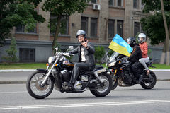 Biker with the ukrainian flag Stock Photography