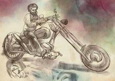 biker Un'illustrazione disegnata a mano, schizzo a mano libera illustrazione di stock