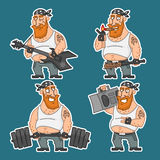 Biker in various poses set stickers 2 Stock Photos