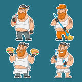 Biker in various poses set stickers 1 Royalty Free Stock Photography