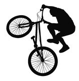 Biker vector silhouette. Bike trick detailed vector silhouettes. Sports design Stock Photos