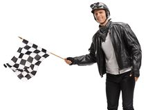 Biker waving a checkered race flag Royalty Free Stock Images