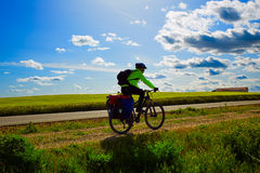 Biker on The Way of Saint James biking in Palencia Stock Image