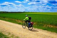 Biker on The Way of Saint James in Castilla Leon Royalty Free Stock Photography