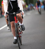 Biker with windproof jacket during the cycling race in the city Stock Images