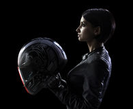 Biker woman in black isolated Stock Images