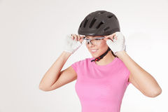 Biker woman in cycling equipments Stock Image