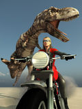 Biker woman escape from t-rex Stock Photo