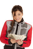 Biker woman fan money look Stock Photos