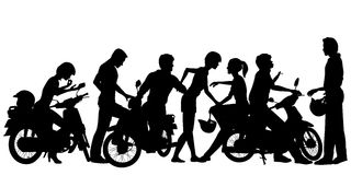 Biker youth. Editable vector silhouettes of a young motorcycle gang with all people and scooters as separate objects Stock Photography