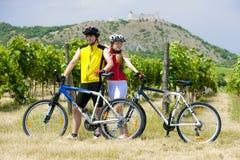 Bikers. Near ruins of Devicky castle with vineyard, Czech Republic Stock Image