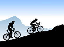 Bikers. Silhouette bikers illustration background Stock Images