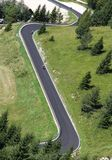 Bikers along the way with many curves in the mountains Royalty Free Stock Photo
