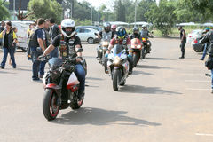 Bikers arriving at Yearly Mass Ride Stock Photo