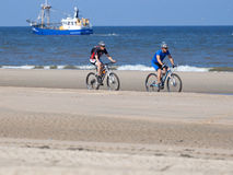 Bikers on the beach of Zandvoort Royalty Free Stock Photos
