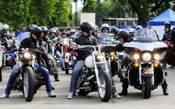 Bikers during Belgrade's Bike Rock Festival Stock Images