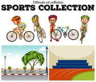 Bikers with bicycle and racing scenes Stock Photo