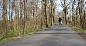 Bikers on a biking path in a park Royalty Free Stock Image