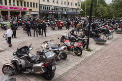Bikers in the city centre Royalty Free Stock Photos