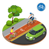 Bikers in city. Cycling on bike path. Bicycle road sign and bike riders. Flat 3d vector isometric illustration. People Stock Photo