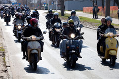 Bikers in city streets Royalty Free Stock Photography