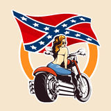 Bikers club Emblem with girl on a motorcycle. Sexy Girl ride a motorcycle against confederate flag. Bikers Club or bikers festival emblem or sticker Royalty Free Stock Photo