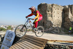 Bikers competition. THESSALONIKI,GREECE - SEPT,30: Yedi Kule Runaway competition in Thessaloniki during Urban Downhill on September 30, 2012 in Thessaloniki Stock Image