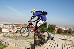 Bikers competition. THESSALONIKI,GREECE - SEPT,30: Unidentified  bikers take part Yedi Kule Runaway competition in Thessaloniki during Urban Downhill on Stock Photos