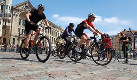Bikers in a competition royalty free stock images
