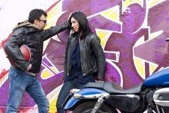 Bikers Couple Royalty Free Stock Photo