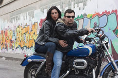 Bikers Couple Royalty Free Stock Photo
