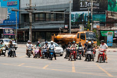 Bikers is at the crossroads, Pattaya Stock Photography