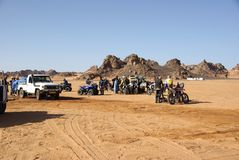 Bikers in the desert of Libya Stock Photos