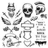 Bikers doodles set, hand drawn design elements Stock Photos