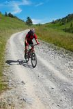Bikers downhill Stock Image