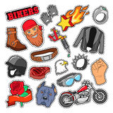 Bikers Elements with Chopper and Motorcycle Royalty Free Stock Photos