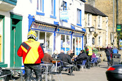 Bikers in February at Matlock Bath, Derbyshire. Royalty Free Stock Photo